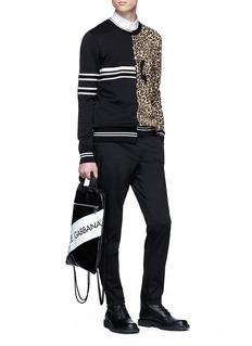 Dolce & Gabbana Stripe sweatshirt panel leopard jacquard sweater