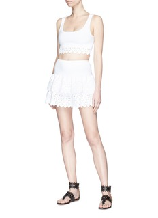 Alaïa Diamond cutout tiered knit mini skirt