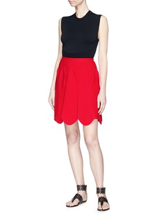 Alaïa Pleated scalloped knit tulip mini skirt