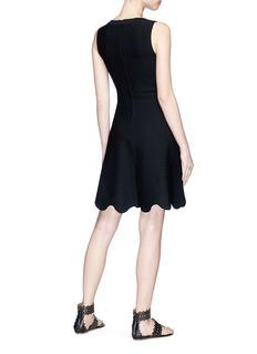 Alaïa Scalloped wavy stripe knit dress