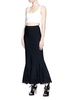 Alaïa Diamond cutout knit maxi fishtail skirt