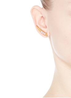 AMANDA MOUNSER'Unity' pearl stud climber earrings