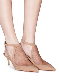 Alexander Wang  'Cecile' mesh panel cutout suede pumps