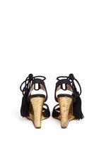针织纹理鱼嘴坡跟凉鞋