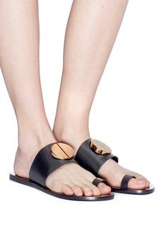 Mercedes Castillo 'Fallon' oversized nail plate toe ring leather slide sandals