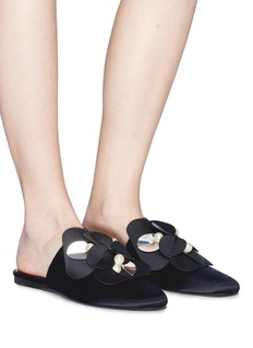 Mercedes Castillo 'Corella' paillette floral appliqué satin slide sandals