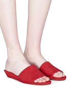SAM EDELMAN Liliana搭带坡跟绒面真皮拖鞋