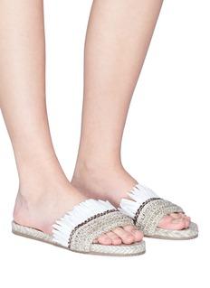 Paloma Barceló 'Betonica' fringed raffia slide sandals