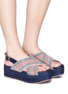 Paloma Barceló 'Veronica' check cross strap weave platform slingback sandals