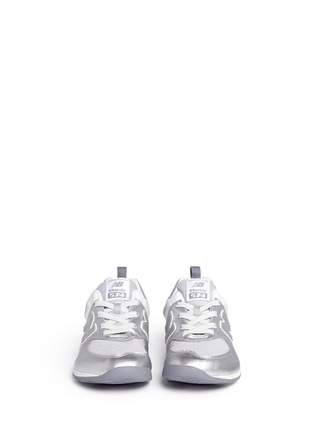 Figure View - Click To Enlarge - New Balance - '574' metallic faux leather kids sneakers