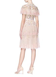 Needle & Thread Floral embellished tiered ruffle tulle dress