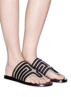 Mercedes Castillo 'Lucara' embroidered basketweave sandals
