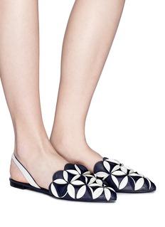 Mercedes Castillo 'Madee' geometric petal leather slingback flats