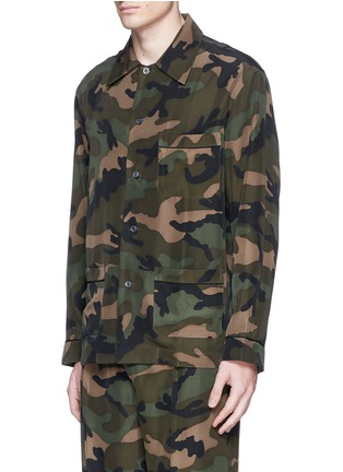 Front View - Click To Enlarge - Valentino - Camouflage silk pyjama set