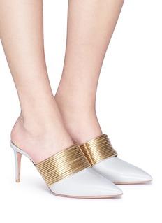 AQUAZZURA Rendez Vous金属感圆环绊带小牛皮穆勒鞋