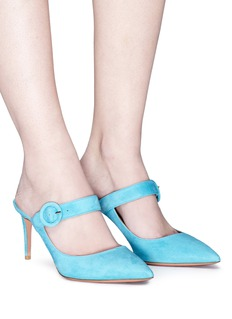 AQUAZZURA Blossom针扣搭带绒面真皮玛丽珍穆勒鞋