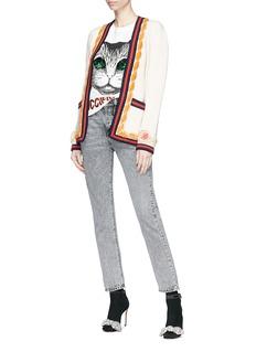 Gucci Floral cuff Web stripe wool cardigan
