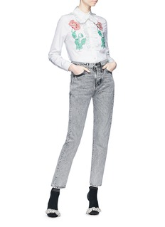 Gucci Floral embroidered stripe poplin shirt