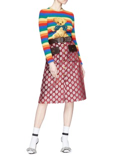 Gucci Teddy bear rainbow stripe wool-cashmere sweater