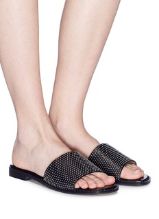 Pedder Red 'Fionn' stud pavé leather slide sandals