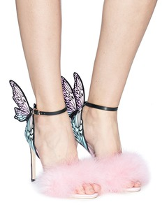 Sophia Webster 'Talulah' fairy wing marabou feather leather sandals