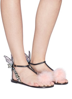 Sophia Webster 'Talulah' butterfly wing marabou feather pompom leather thong sandals