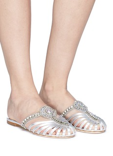 Sophia Webster 'Iridessa' jewelled caged lamé slide sandals