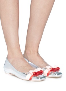 Sophia Webster 'Andie' double bow mirror leather ballet flats
