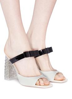 Sophia Webster 'Andie' embellished heel bow strap leather sandals