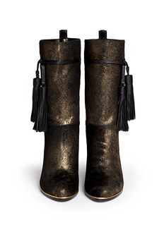 LANVIN Metallic brushed calf hair tassel leather boots