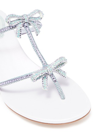 Detail View - Click To Enlarge - René Caovilla - Strass bow caged satin sandals