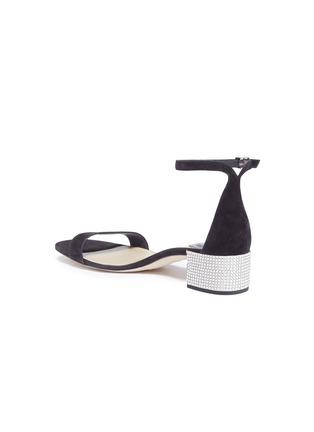 Detail View - Click To Enlarge - René Caovilla - Strass pavé heel ankle strap suede sandals