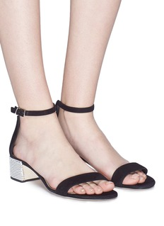 René Caovilla Strass pavé heel ankle strap suede sandals