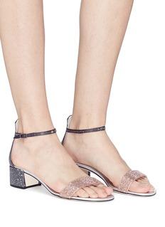 RENÉ CAOVILLA 仿水晶点缀拼色粗跟凉鞋