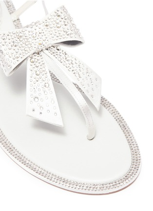Detail View - Click To Enlarge - René Caovilla - Strass bow satin sandals