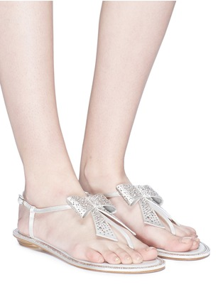 Figure View - Click To Enlarge - René Caovilla - Strass bow satin sandals