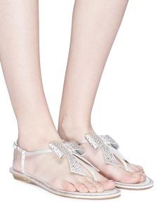 RENÉ CAOVILLA 仿水晶蝴蝶结缎面夹脚凉鞋