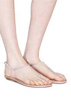 René Caovilla Strass pavé leather thong sandals