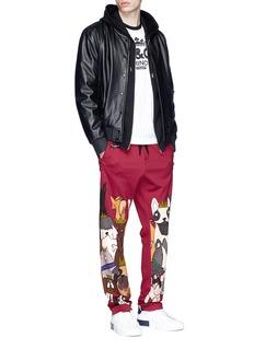 Dolce & Gabbana Dog print logo patch sweatpants