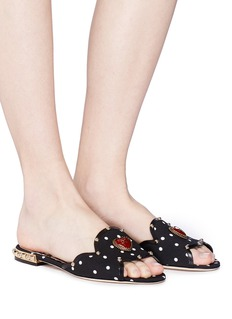 Dolce & Gabbana Logo heart embellished polka dot slide sandals