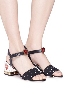 Dolce & Gabbana Logo heart embellished polka dot sandals