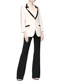 Gucci Floral appliqué wool tuxedo blazer