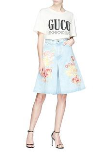 Gucci Floral embroidered denim skort