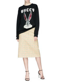 Gucci Split back check wool blend skirt