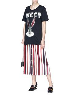 Gucci Variegated stripe denim A-line skirt