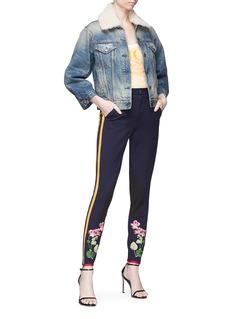 Gucci Floral appliqué stripe outseam leggings