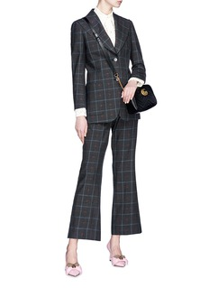 Gucci Heart embroidered check plaid flared pants