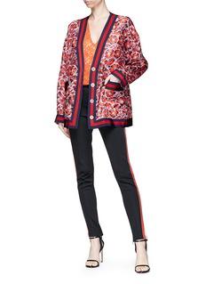 Gucci Poppy garden print silk twill oversized cardigan