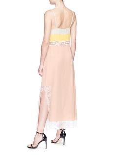 Gucci Logo lace trim colourblock georgette slip dress