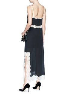 Gucci Logo lace trim silk georgette slip dress